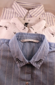 Top - Bottom - Asos Grandad shirt, H&&M Bird print shirt, Zara eyelash shirt