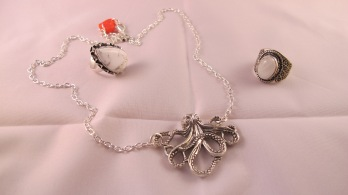 Ring, Octopus necklace and other ring